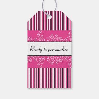 Étiquettes-cadeau Rayures et boucles roses