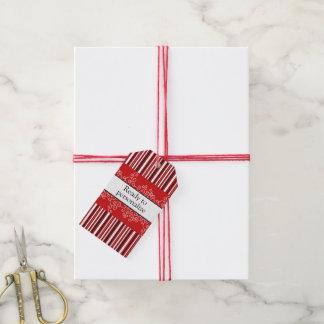 Étiquettes-cadeau Rayures et boucles rouges