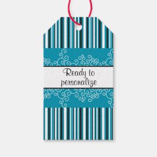 Étiquettes-cadeau Rayures turquoises et boucles