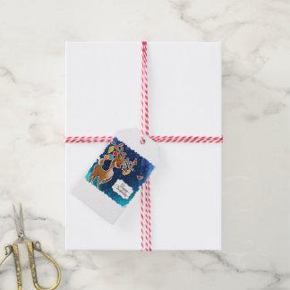 Étiquettes-cadeau Renne caracolant de Joyeux Noël
