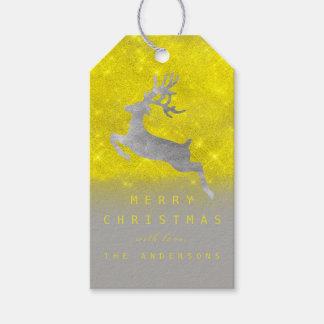 Étiquettes-cadeau Renne de gris de jaune d'étiquette de cadeau de