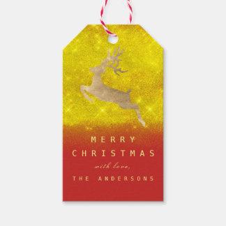 Étiquettes-cadeau Renne de RedGold de jaune d'étiquette de cadeau de