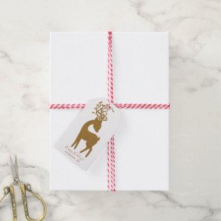 Étiquettes-cadeau Renne de vacances de Noël de parties scintillantes
