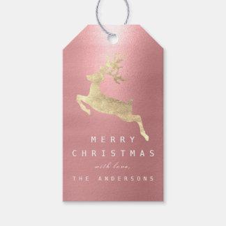Étiquettes-cadeau Renne d'or de rose d'haricot d'étiquette de cadeau