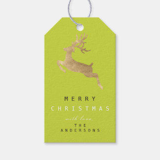 Étiquettes-cadeau Renne d'or vert de Limon d'étiquette de cadeau