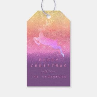 Étiquettes-cadeau Renne rose d'Ombre d'étiquette de cadeau de Noël