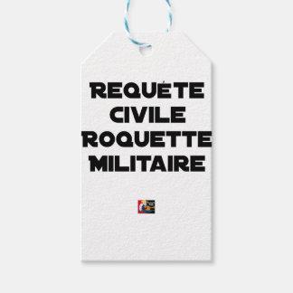 Étiquettes-cadeau REQUÊTE CIVILE, ROQUETTE MILITAIRE - Jeux de mots
