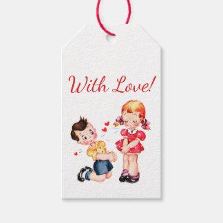 Étiquettes-cadeau Rétros Valentines de fille et de garçon