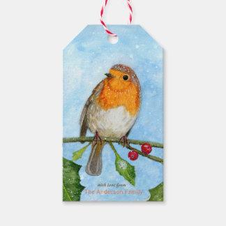 Étiquettes-cadeau Robin dans l'étiquette pour aquarelle de cadeau de