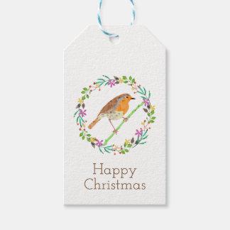 Étiquettes-cadeau Robin l'oiseau de Noël