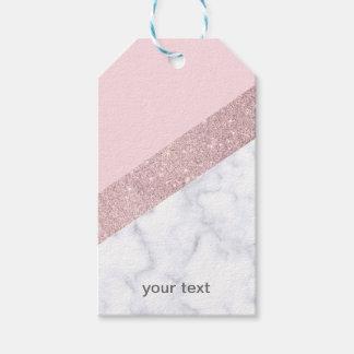 Étiquettes-cadeau rose de marbre blanc de parties scintillantes