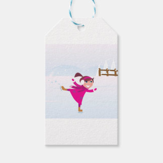 Étiquettes-cadeau Rose d'enfant de patinage de glace
