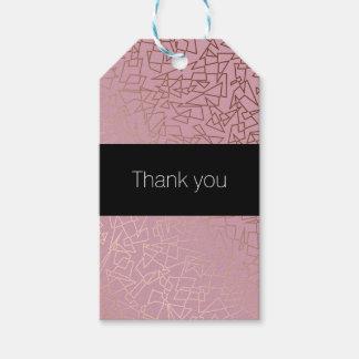 Étiquettes-cadeau Rose géométrique de motif d'or rose élégant