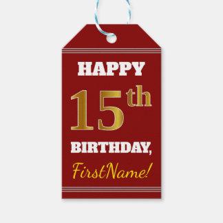 Étiquettes-cadeau Rouge, anniversaire d'or de Faux 15ème + Nom fait