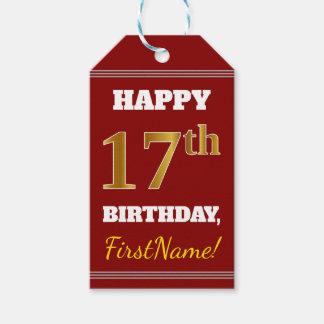 Étiquettes-cadeau Rouge, anniversaire d'or de Faux 17ème + Nom fait