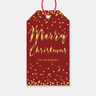 Étiquettes-cadeau Rouge chic de confettis de feuille d'or de Joyeux