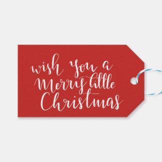 Étiquettes-cadeau Rouge manuscrit de manuscrit de Joyeux petit Noël