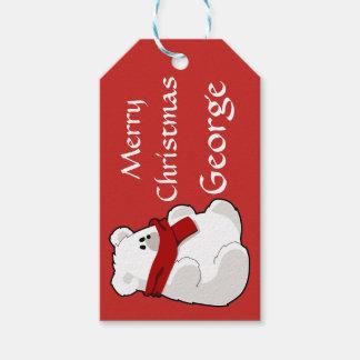 Étiquettes-cadeau Rouge mignon personnalisé d'ours blanc