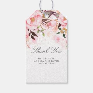 Étiquettes-cadeau Rougissent l'aquarelle florale rose