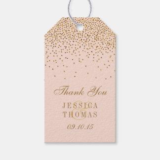 Étiquettes-cadeau Rougissent le rose et le mariage de confettis d'or