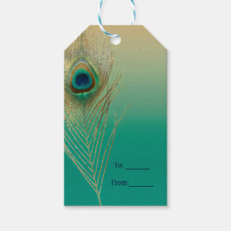 Étiquettes-cadeau Sable de plume de paon et faveur turquoise de