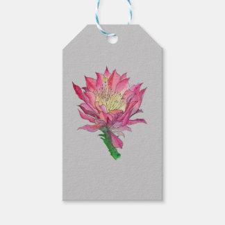 Étiquettes-cadeau Sac de cadeau de fleur de cactus d'aquarelle