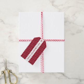 Étiquettes-cadeau Saint-Valentin rouge et coeur blanc personnalisé