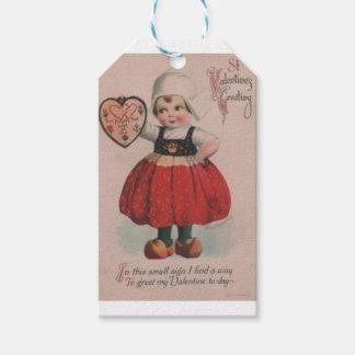 Étiquettes-cadeau Saint-Valentin victorienne de fille néerlandaise