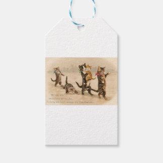 Étiquettes-cadeau Saint-Valentin victorienne vintage de chatons de