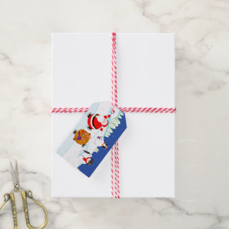 Étiquettes-cadeau Scène de neige patinage du père noël et de Rudolph