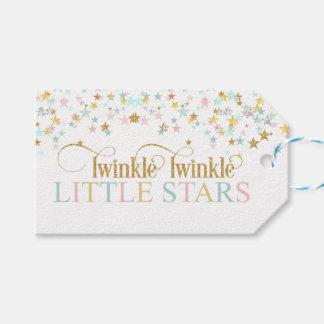 Étiquettes-cadeau Scintillement peu de baby shower de jumeaux