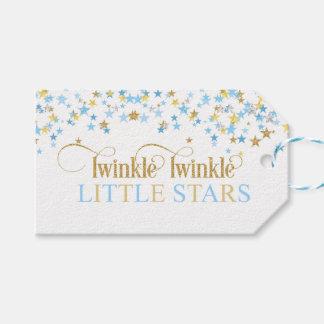 Étiquettes-cadeau Scintillement peu de bleu et or de baby shower de