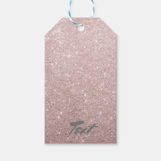 Étiquettes-cadeau scintillement rose élégant d'or