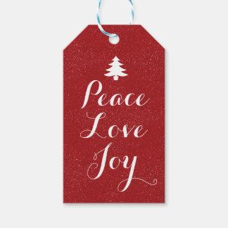 Étiquettes-cadeau Scintillement rouge de joie d'amour de paix