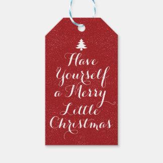 Étiquettes-cadeau Scintillement rouge de Joyeux Noël