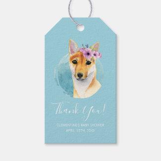 Étiquettes-cadeau Shiba Inu avec le bleu de baby shower de la