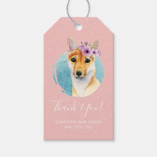 Étiquettes-cadeau Shiba Inu avec le rose de baby shower de la