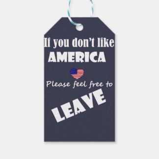 Étiquettes-cadeau Si vous n'aimez pas l'Amérique, se sentir libre
