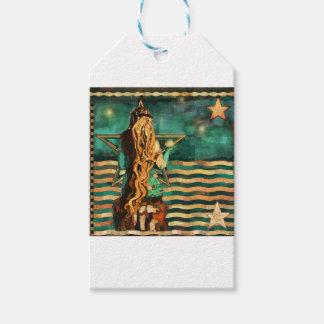 Étiquettes-cadeau Sirène par la mer avec la lune et les étoiles