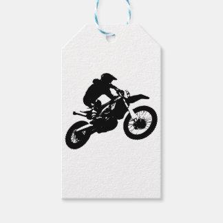 Étiquettes-cadeau Sport blanc noir de Motorcyle de motocross d'art