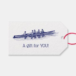 Étiquettes-cadeau Sports aquatiques bleus d'équipe d'équipage de