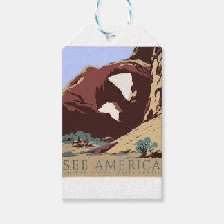 Étiquettes-cadeau Sud-ouest vintage Amérique Etats-Unis d'affiche de