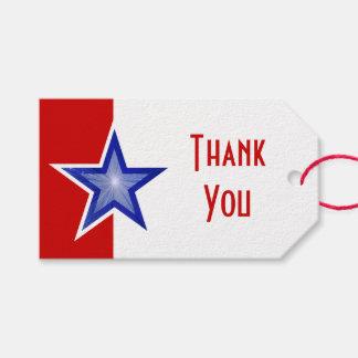 Étiquettes-cadeau Texte rouge de Merci d'impression d'étoile bleue