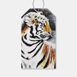 Étiquettes-cadeau Tigre dans la neige noir