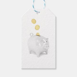 Étiquettes-cadeau Tirelire avec les pièces de monnaie d'or