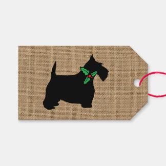 Étiquettes-cadeau Toile de jute de houx de chien de Scottie