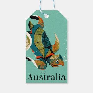 Étiquettes-cadeau Tortue de mer australienne gaie