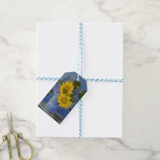 Étiquettes-cadeau Tournesols épousant la faveur d'invité de Merci