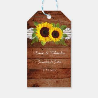 Étiquettes-cadeau Tournesols rustiques de dentelle épousant