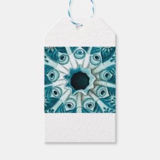 Étiquettes-cadeau trou et yeux bleus